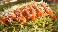 Pâtes au saumon et au pesto Sushi Burger, Pesto, Spaghetti, Ethnic Recipes, Food, Salmon Pasta, Recipes, Meals, Noodle