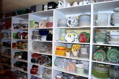 Dish room of BONNIE a very creative tablescaper. Beautiful dish storage and organization. WOW!