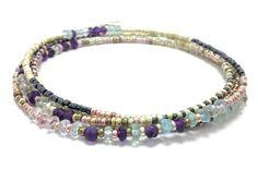 Seed bead wrap bracelet, multi strand beaded bracelet, layering necklace, boho, bohemian, stackable, anklet, amethyst, aquamarine, purple by JewelRiot on Etsy