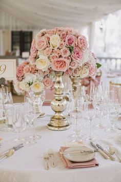 Pink and White Rose and Gold Centerpiece – shared on Belle the Magazine