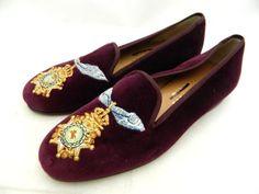 JCREW Stubbs and Wooten Velvet Slipper Loafers $400 burgundy shoes  #JCrew+#LoafersMoccasins