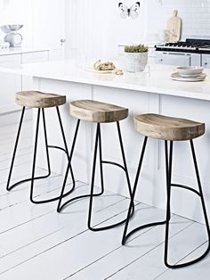 Breakfast bar kitchen · A contemporary twist on our bestselling Weathered Oak Stool, this stylish high stool features natural ( breakfast bar and stools pictures stool Metal Counter Stools, Wooden Bar Stools, Stools For Kitchen Island, Metal Stool, Table Stools, Industrial Bar Stools, Farm House Bar Stools, Kitchen Island With Stools, Timber Bar Stools
