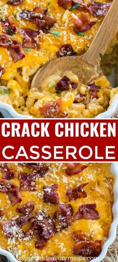 Cheesy Crack Chicken Casserole is the perfect dish to feed a large crowd Deliciously cheesy and loaded with tender chicken and topped with crispy bacon chicken sweetandsavorymeals easyrecipe casserole chickenrecipes crackchicken macandcheese Crack Chicken, Cheesy Chicken, Chicken Caseroles, Chicken Cordon, Chicken Ideas, Lemon Chicken, Fried Chicken, Best Dinner Recipes, Stuffed Peppers