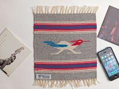 オルテガ 841010-884 手織りチマヨ・ブランケット 25x25cm  ヘザーグレー『ロードランナー』 ウール100% アメリカ製