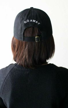 Black six panel 'Go Away' baseball cap } NYCTClothing Chino Twill. Cute Hats, Bad Hair Day, Up Girl, Dad Hats, Cute Outfits, My Style, Stylish, Hair Styles, Jon Snow