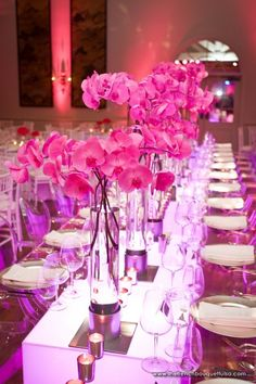 Pink Paradise Wedding Reception Centerpieces - The French Bouquet - Chris Humphrey Photography