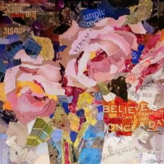 A beautiful torn paper collage by a CA artist.