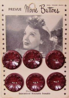 """Vintage Movie Star Buttons card featuring photo of Lucille Bremer, starring in """"Adventures of Casanova"""" 1948"""