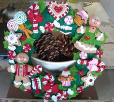 Bucilla  Cookies and Candy Completed Felt  Christmas Wreath