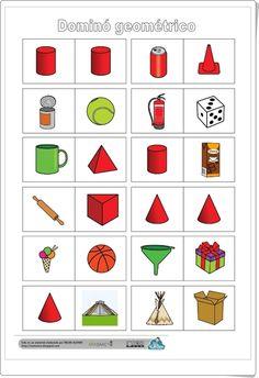 Dominó geométrico (Fichas de cuerpos geométricos de Primaria) Go Math, Math For Kids, Montessori Materials, Preschool Activities, Worksheets, Projects To Try, Shapes, Education, Trigonometry