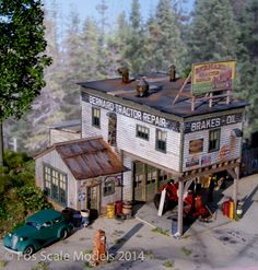 This is a model and a little old timey, but a good rough idea of how a garage/mechanic with living quarter might look.....Bernard Tractor Repair HO Scale Kit