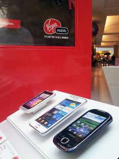 Straight Smartphones securely tethered to the display at Virgin Mobile