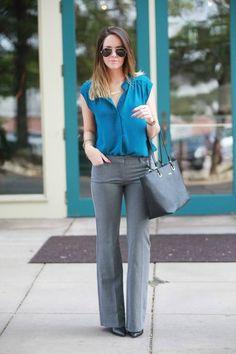 Fashionably Kay Blue And Gray Business Fall Inspo