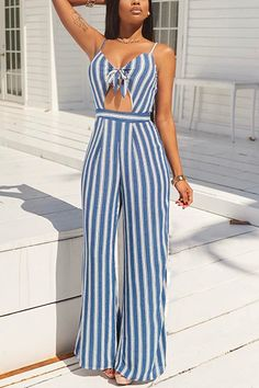 V Neck Spaghetti Straps Sleeveless Striped Light Blue Healthy Fabric One-piece Jumpsuits Best Casual Outfits, Trendy Summer Outfits, Casual Dresses, Cool Outfits, Striped Jumpsuit, Jumpsuit Dress, Wholesale Clothing, Look Fashion, Beautiful Outfits