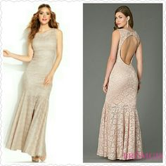 NWOT Jump Apparel Glitter Dress Women's Jump Apparel Glitter Chevron Lace Open Back Trumpet Gown Gold 7/8 jump apparel Dresses Prom