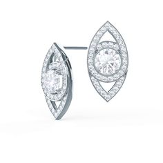 Marquise Eye Studs by Ada Diamonds. Lab grown diamond stud earrings in 18k white gold. Large round brilliant diamond center stone suspended in a marquise shape.