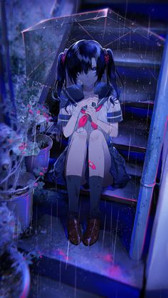 Uploaded by NemoPA. Find images and videos about girl, art and anime on We Heart It - the app to get lost in what you love. Dark Anime Girl, Cool Anime Girl, Pretty Anime Girl, Anime Art Girl, Anime Girls, Anime Neko, Chica Anime Manga, Manga Girl, Sad Anime