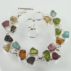 925 Sterling Silver Natural MULTI-COLOR Gemstones Marvelous Bracelet ! Wholesale #Unbranded #Chain