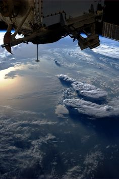 "NASA Astronaut Karen Nyberg: ""Storms over the Mediterranean. And a nadir docking port left empty after our Soyuz move earlier today. Earth And Space, Cosmos, Nasa Photos, Nasa Astronauts, Wallpaper Space, Space And Astronomy, Nasa Space, Space Photos, Space Station"