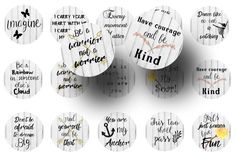 Inspirational quotes 1 inch circles digital collage sheet