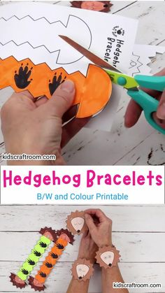 Make cute Hedgehog Paper Bracelets! This hedgehog craft is so fun and easy to make. The printable hedgehog template comes in B/W and six colour variations. It's a lovely autumn craft for kids and a great accompaniment to forest animal, hibernation or nocturnal study themes. #kidscraftroom #kidscrafts #hedgehogs #hedgehogcrafts #autumncrafts #fallcrafts #papercrafts #printablecrafts #forestanimals Fall Crafts For Kids, Autumn Crafts, Art For Kids, Hedgehog Craft, Cute Hedgehog, Leaf Crafts, Flower Crafts, Nursery Crafts, Printable Crafts