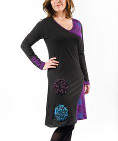 Love this Adria Mode Black & Purple Rosette V-Neck Dress by Adria Mode on #zulily! #zulilyfinds