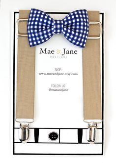 Boys Bow Tie and Suspenders SET Navy blue and white by MaeAndJane