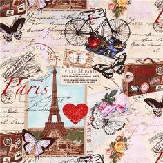 beige Vintage Paris Eiffel Tower fabric Timeless Treasures