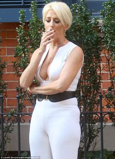 Smoke break: Dorinda Medley was seen puffing on a cigarette while filming for the ninth season of The Real Housewives Of New York City on Monday