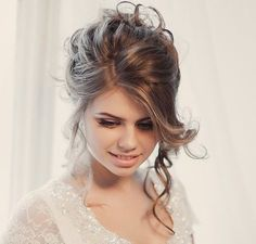 tousled loose wedding updo