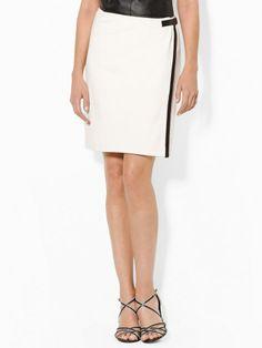Leather-Trimmed Wrap Skirt - Short Skirts  Skirts - RalphLauren.com