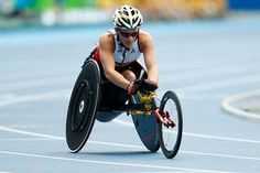 L'athlète belge paralympique, Marieke Vervoort, lors de l'épreuve du 400m - T52…