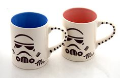 A perfect gift for the Star Wars couple! [Mr and Mrs Star Wars (R) Storm Trouper Mug Set for Wedding or Anniversary. $36.00, via Etsy.]