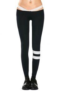 Comfy Knee Striped Yoga Pants Full Length Straps Waist
