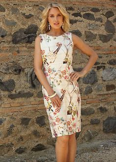 Pomodoro Floral Print Sleeveless Shift Dress Occasion Wear, Occasion Dresses, Dresses For Less, Short Dresses, Knee Length Dresses, Cut And Style, Party Dress, Floral Prints, Fashion Dresses