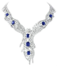 Sept Étoiles necklace, platinum, 7 cushion-cut sapphires from Kashmir and round, baguette-cut, pear-shaped and rose-cut diamonds.