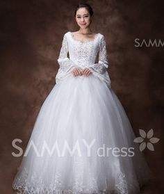 $143.12 Vintage V-Neck Sequins Beading Embroidery Women's Bowknot Bell Sleeves Wedding Dress