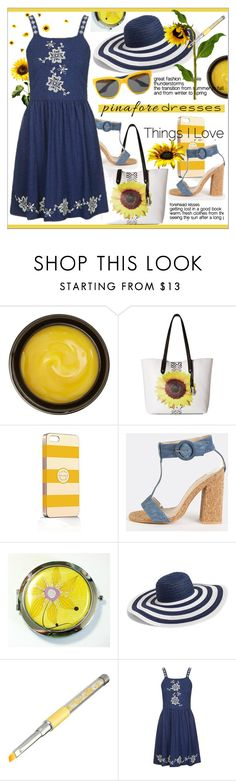 """""""60 Second Style: Pinafores II"""" by calamity-jane-always ❤ liked on Polyvore featuring de Mamiel, Carlos by Carlos Santana, Frontgate, Vera Bradley, Topshop, Moschino, verabradley, fashionset, pinafores and CarlosSantana"""