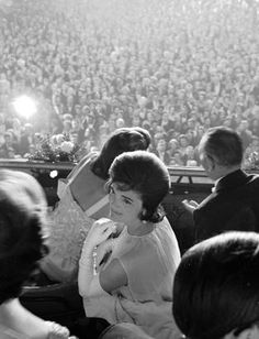 Jacqueline Kennedy attends the inauguration of her husband, President John F. Kennedy, 1961.