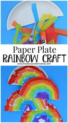Tissue paper and paper plate rainbow kid craft for St. Patrick's Day or spring and summer.