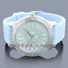 Techno Master Watches: This Ladies Diamond Watch showcases a silver tone stainless steel case with a blue mother of pearl dial that is paved in white sparkling stones. This unique 0.12-carat diamond Techno Master watch is conveniently water-resistant and makes a perfect gift for any occasion.  Available with a blue leather and pink rubber strap.