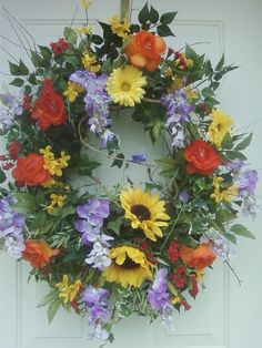 Summer wreath wreaths and the shape on pinterest for Colorful summer wreaths