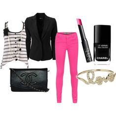 Black and Pink, created by freckles98.polyvore.com