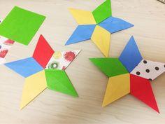5枚の折り紙でかわいい星を作りました。 同じ色で作ったり、無地と柄を組み合わせたりするととっても素敵ですよ。 たくさん作ってガーランドにするのもおすすめです! 作り方は簡単で、同じに折って組み合わせるだけ。 お子さんと一緒に作ってみてくださいね♪ | ページ2 Origami Stars, Origami Easy, Diy And Crafts, Paper Crafts, Creative Posters, Handmade Art, Christmas Ornaments, How To Make, Cards