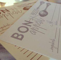 Bon Appétit letterpress recipe cards