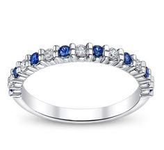14K White Gold Diamond and Sapphire Anniversary Ring 1/6 ct tw