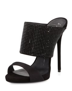 Giuseppe Zanotti High-Heel Crystal Slide Sandal, Nero