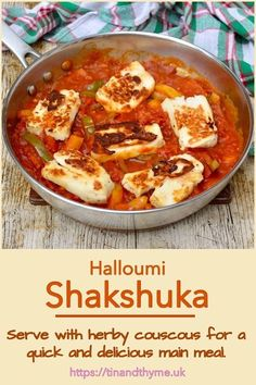 Halloumi Shakshuka. Serve with herby couscous for a quick and delicious main meal. It also makes a great breakfast with some good crust bread. For a more traditional Middle Eastern take, swap the halloumi for poached eggs. #TinandThyme #HalloumiRecipe #MiddleEastern #SweetPeppers #shakshuka Veggie Recipes, Vegetarian Recipes, Cheese Recipes, Cheese Dishes, Breakfast Recipes, Dinner Recipes, Vegetarian Breakfast, Brunch Recipes, Easy Cooking