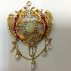 Brooch pendant, neo-Renaissance period, 18k gold, opal, rubies, diamonds, probably Austro-Hungary, 1850-1880 #ringsjewelry