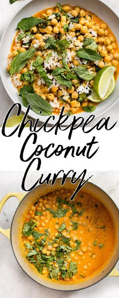 This quick and easy vegan chickpea coconut curry is ready in less than 15 minutes! It's fresh, healthy, and delicious. Great served over rice! We are want to say thanks if you like to share this post to another . Chickpea Recipes, Vegan Dinner Recipes, Vegan Dinners, Indian Food Recipes, Real Food Recipes, Vegetarian Recipes, Healthy Recipes, Indian Snacks, Delicious Recipes
